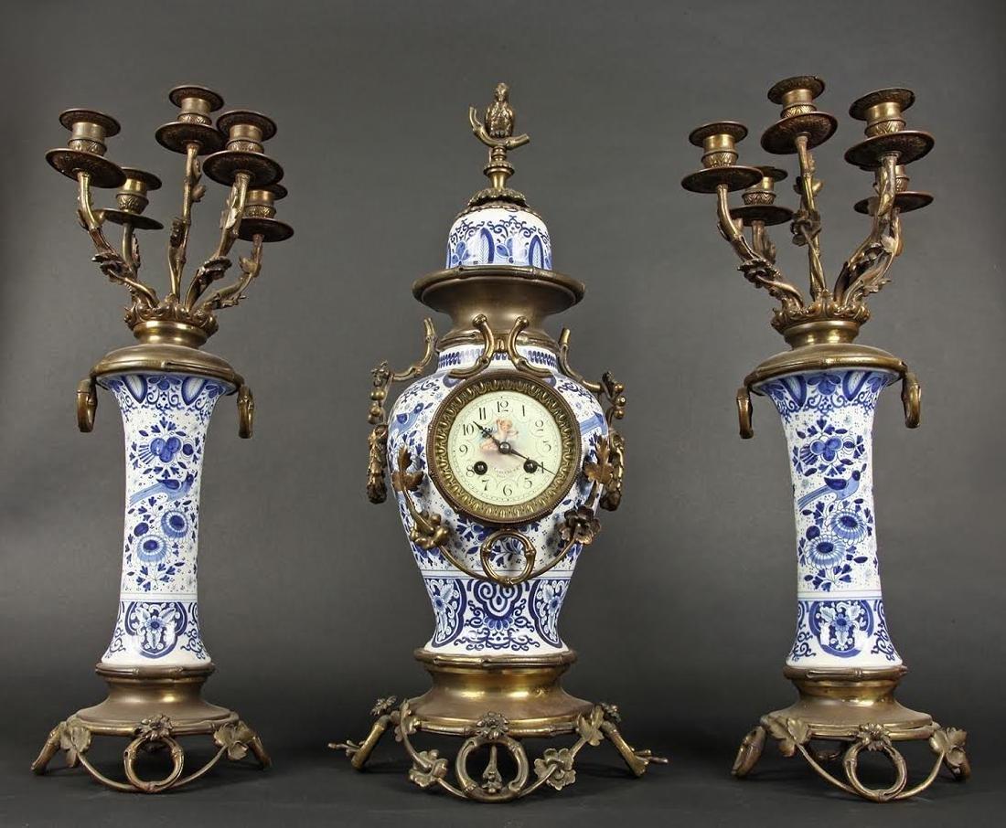 3 Pieces Porcelain GARNITURE Clock Set Signed