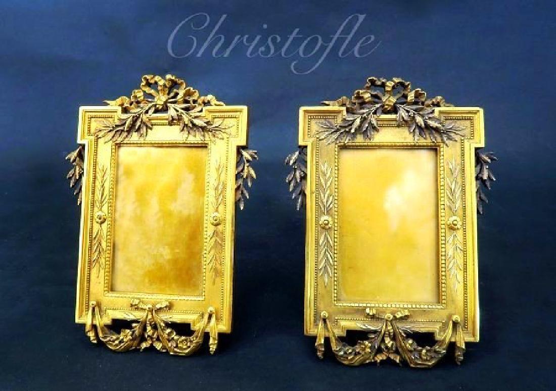 Fine 19th C. Gilded Bronze Frames Signed Christofle