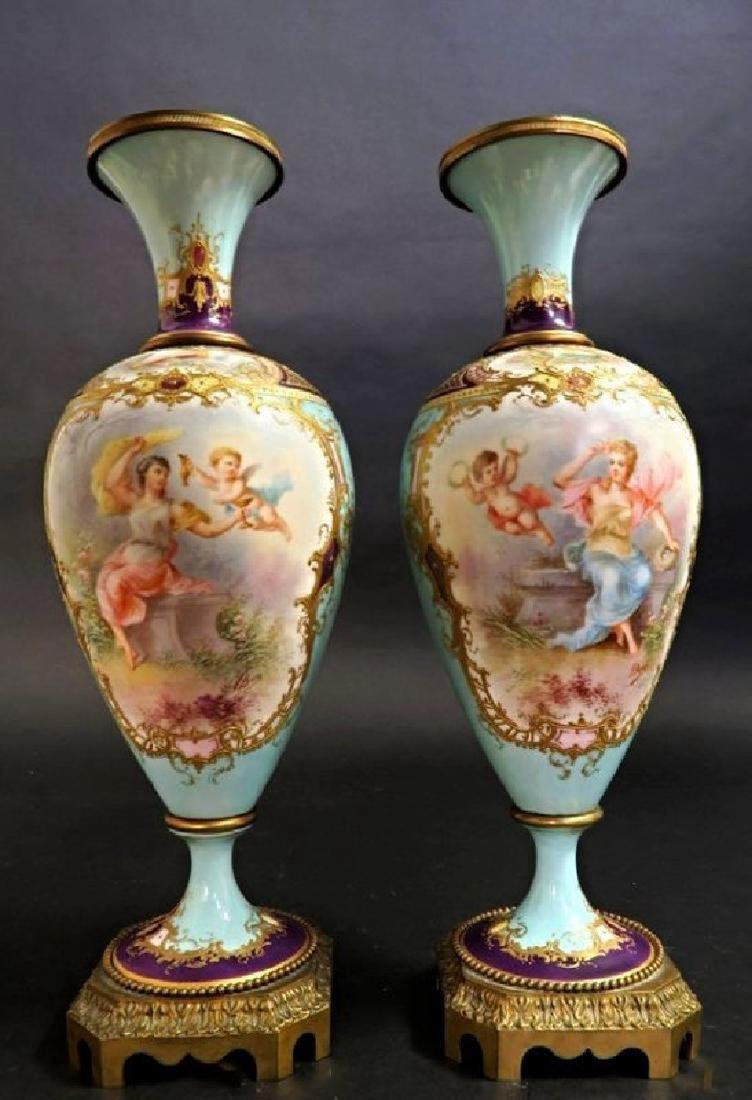 19th C. Pair of French Turquoise Sevres Urns