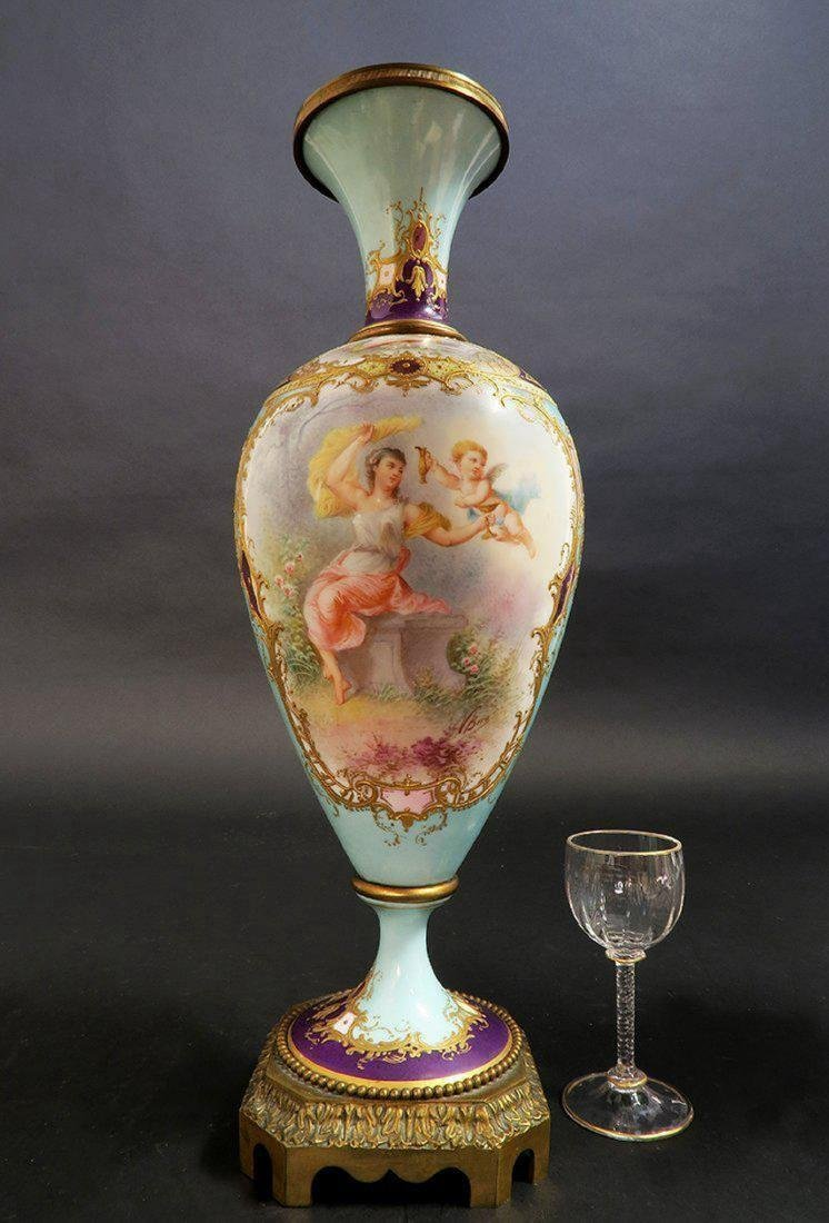 19th C. Pair of French Turquoise Sevres Urns - 3