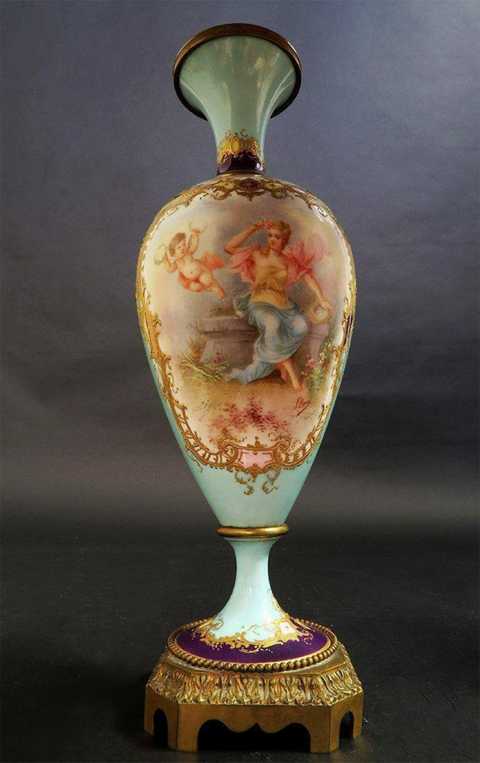 19th C. Pair of French Turquoise Sevres Urns - 4