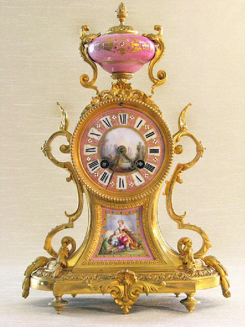 Antique French Gilt Bronze and Sevres Porcelain clock
