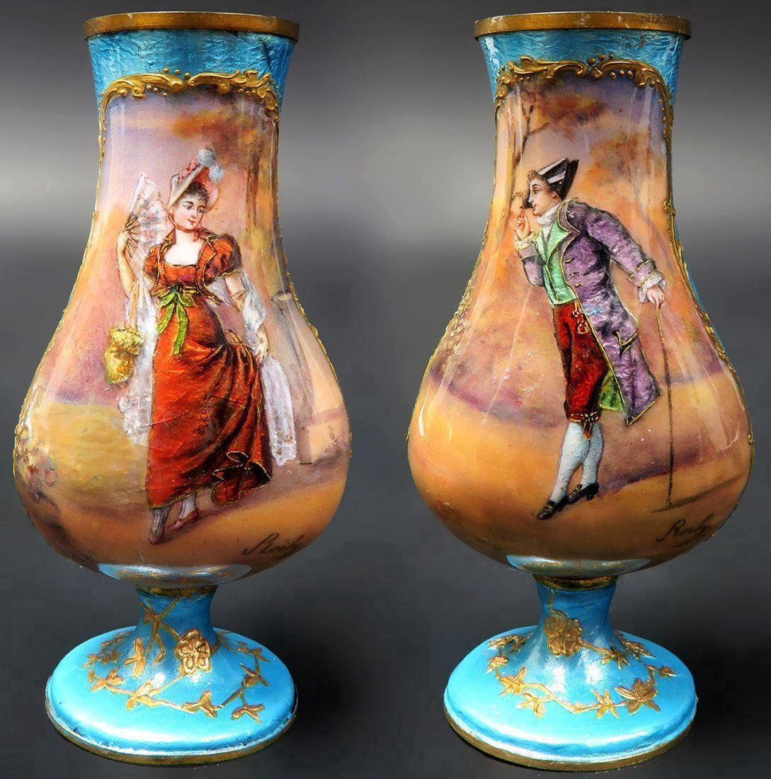 19th french miniature vase hand painted signed