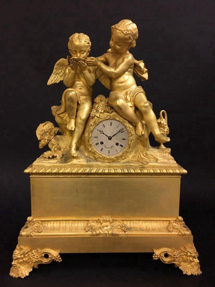 Monumental Dore Bronze French Empire Figural Clock