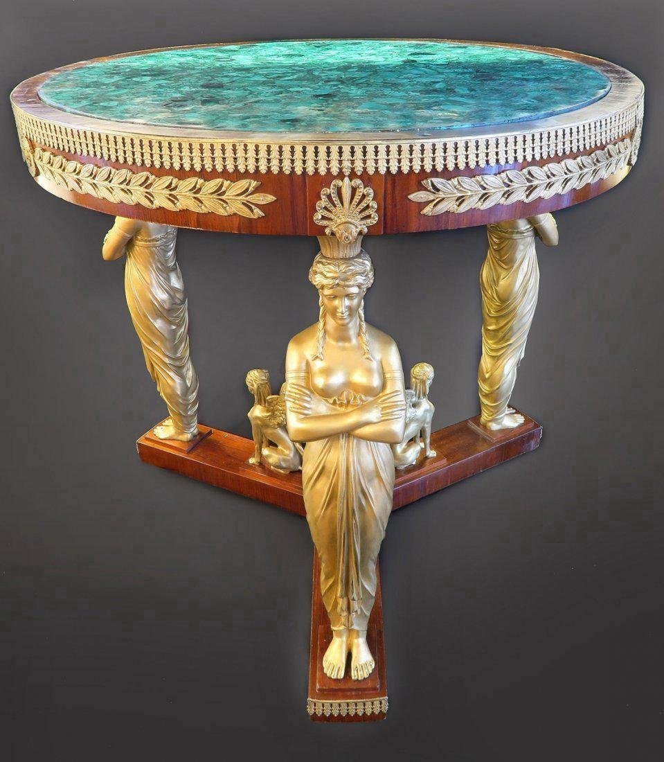 Malachite & Bronze Round Center Table