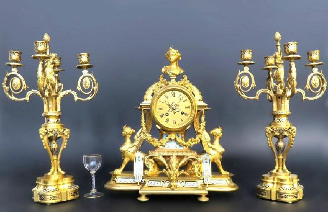 French Champleve Enamel & Bronze Figural Clock Set