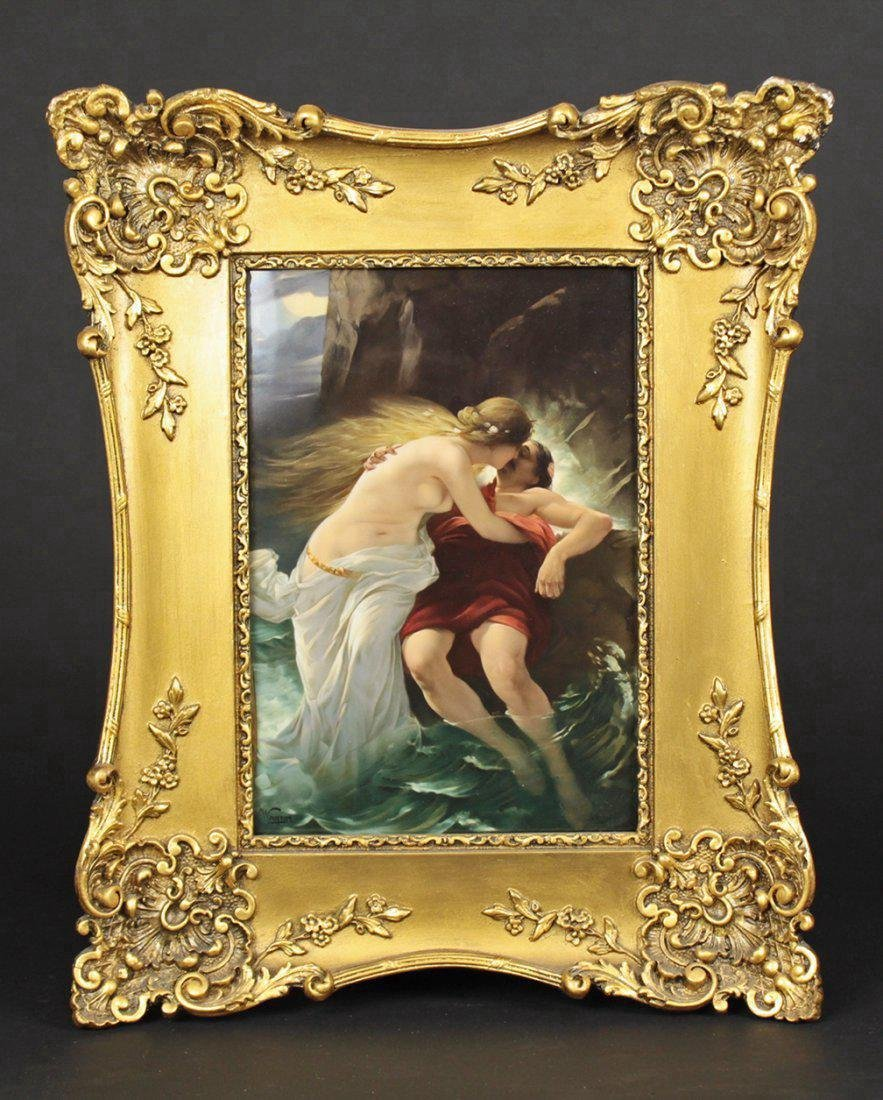 19th C. Plaque With two lovers, Signed Wagner!