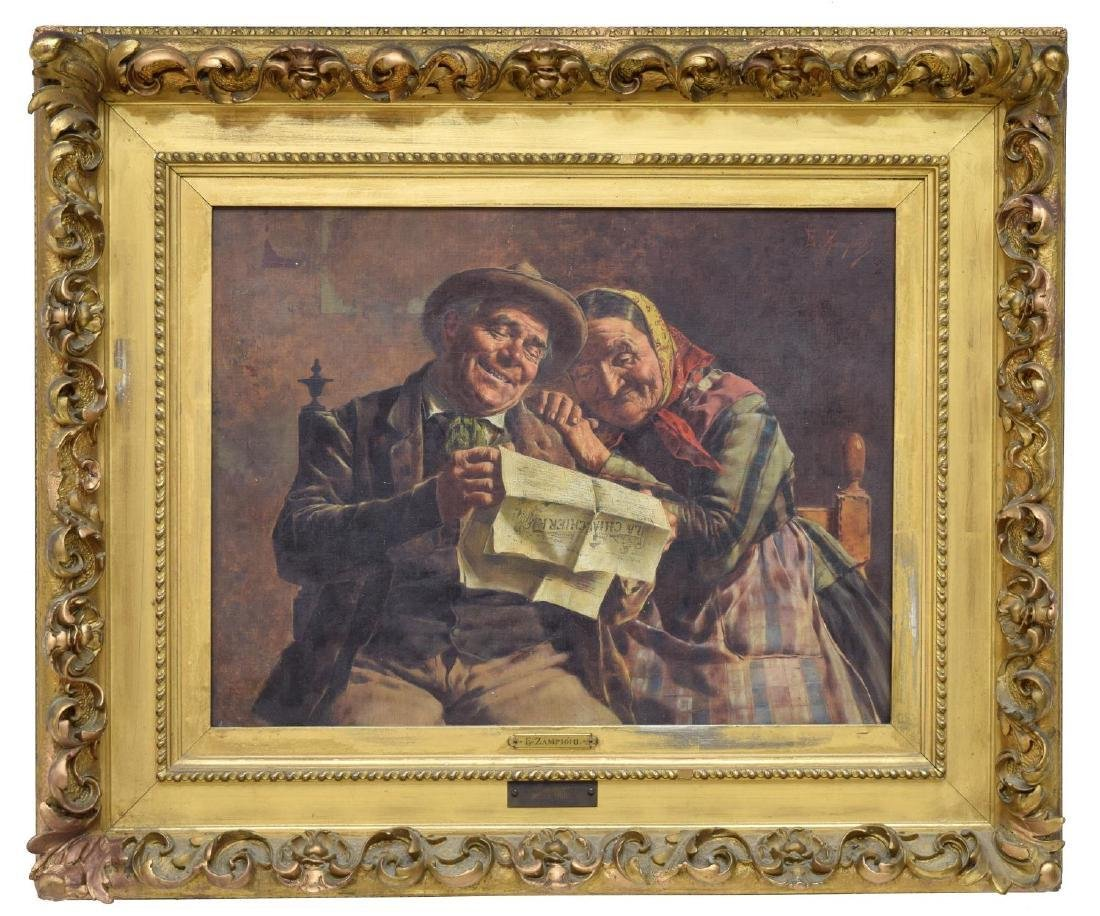 EUGENIO ZAMPIGHI (1859-1944) OLD COUPLE PAINTING