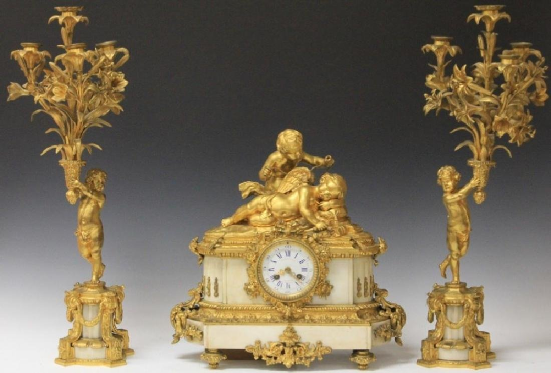 FRENCH BRONZE THREE PART FIGURAL CLOCK SET