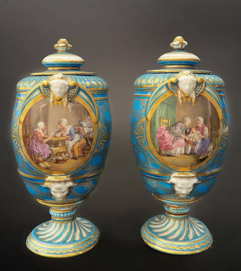 Very Fine Pair of 19th C. Turquoise Blue Sevres Urns