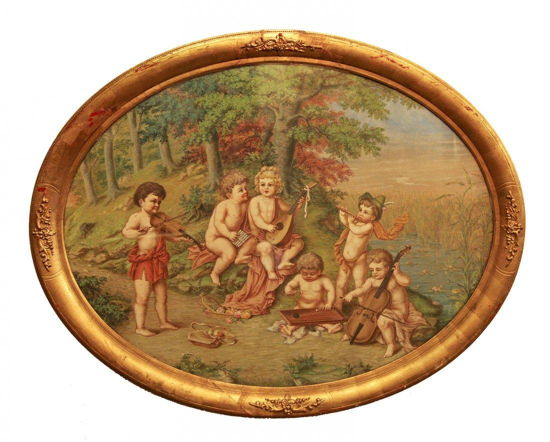 Large 19th C. Oval Oil on Canvas
