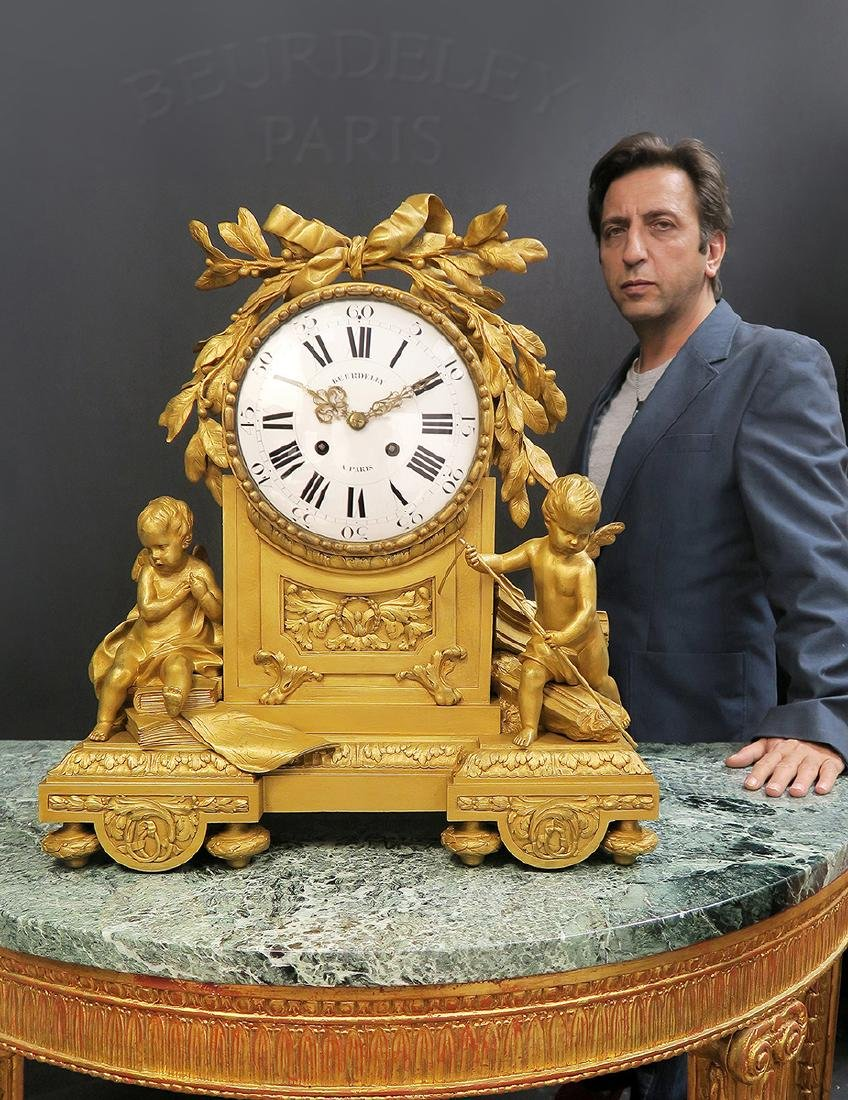 "Large French Figural Bronze Clock by ""Beurdeley"""