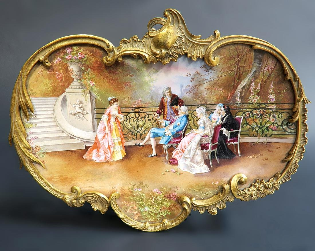 A FRENCH GILT BRONZE AND ENAMEL CARD TRAY