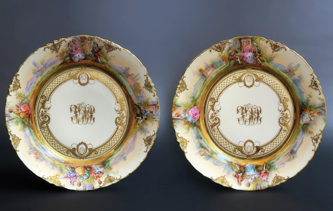 Pair of 19th C. Hand Painted Dresden Plates