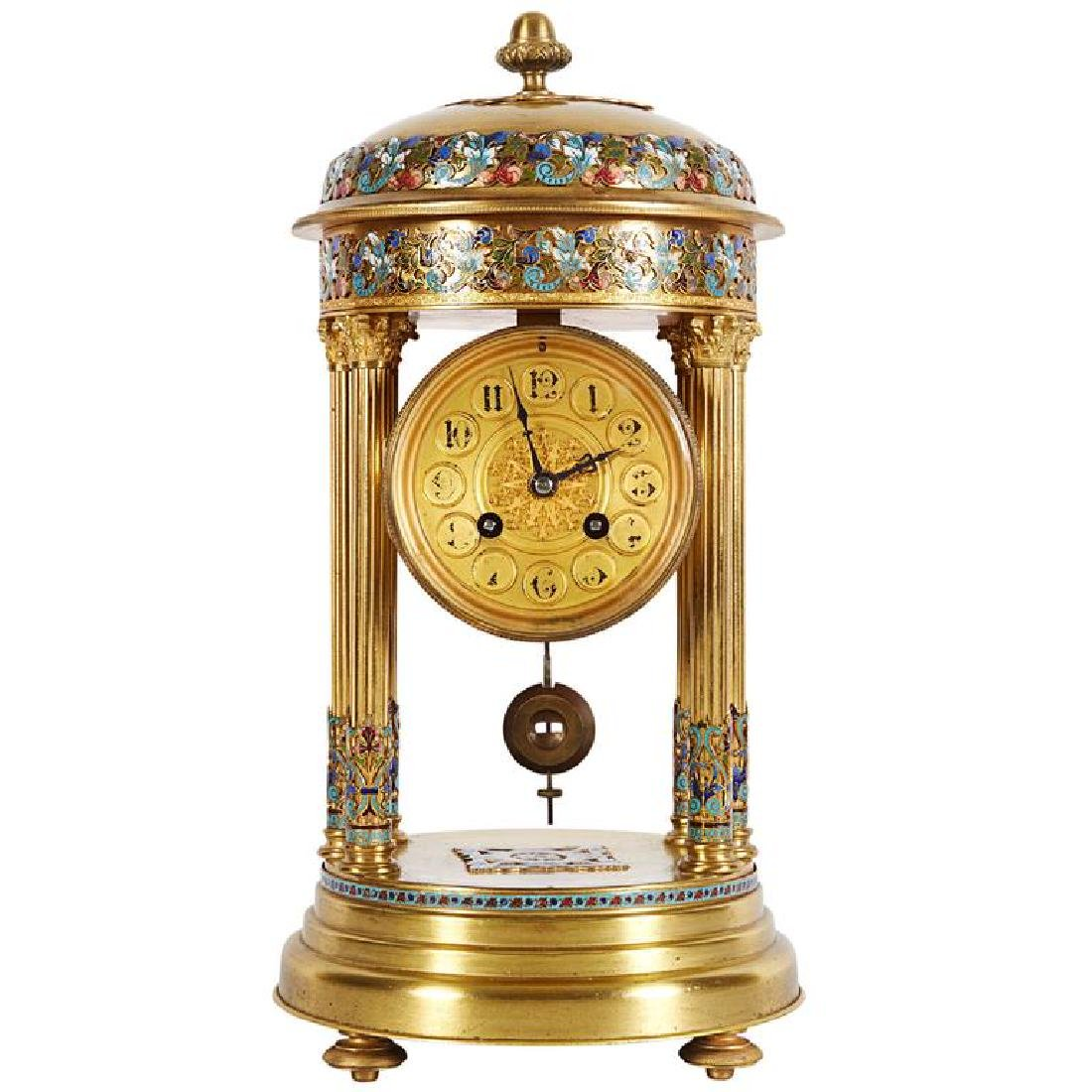 French Cloisonne Champleve Enamel Round Mantle Clock
