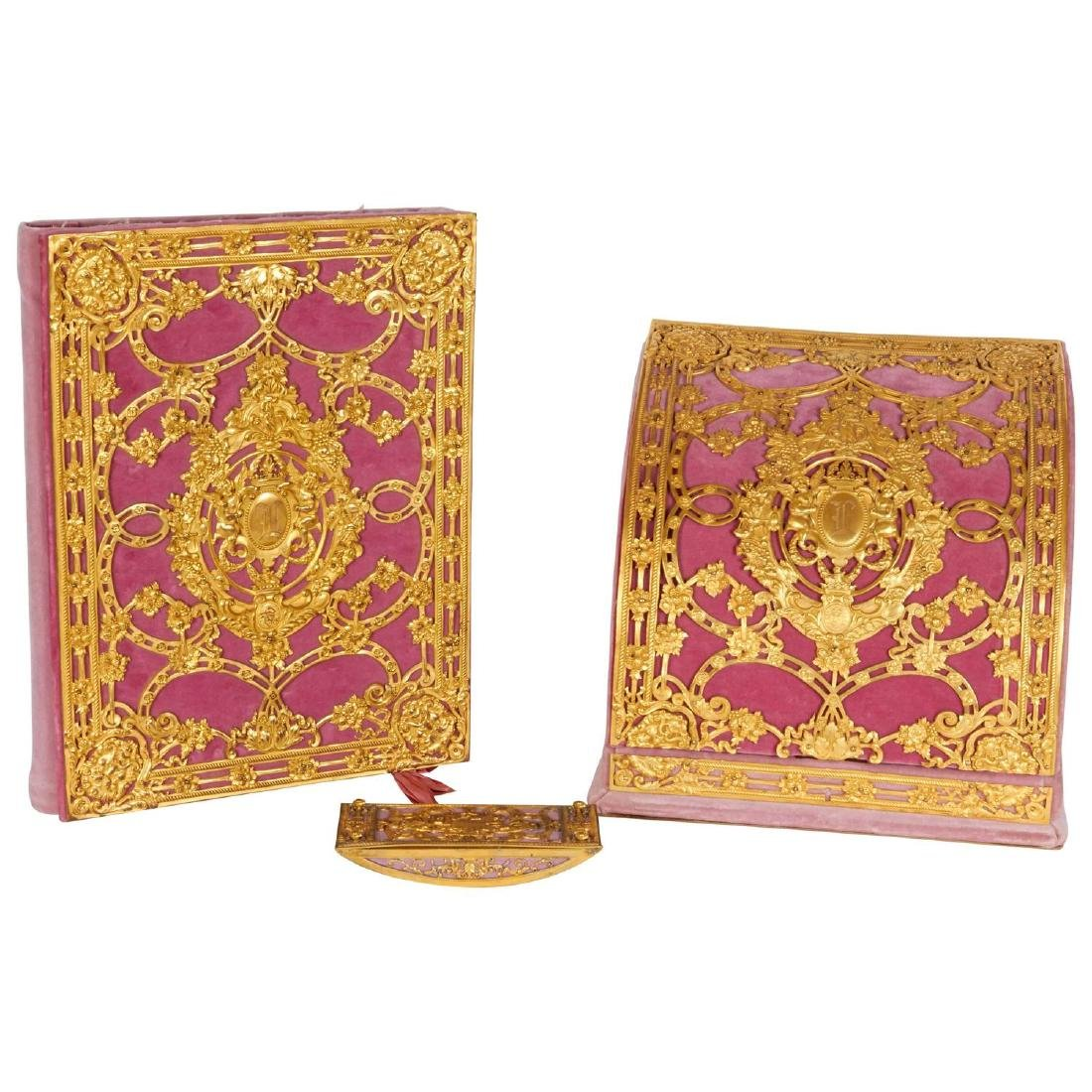 Ormolu-Mounted Pink Velvet Desk Set E. F. Caldwell & Co