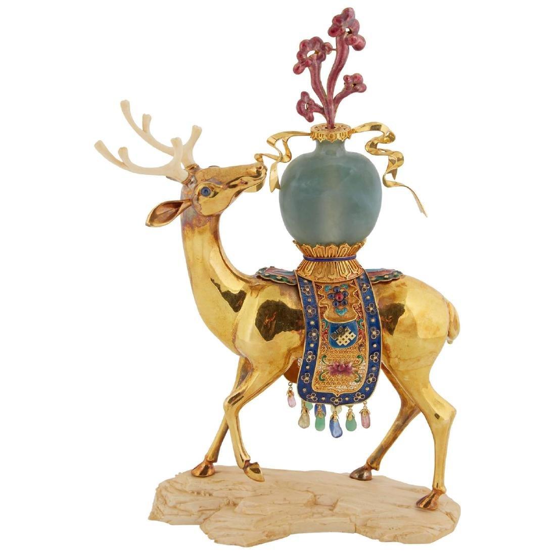 Chinese 18K Solid Gold Enamel/Precious Stone/Jade Deer