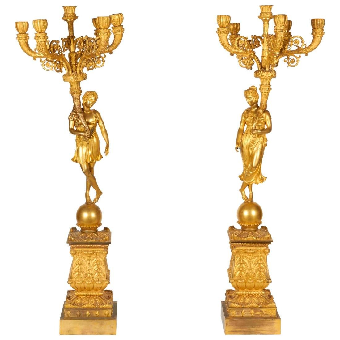 Monumental French Empire Ormolu Bronze Candelabra Pair