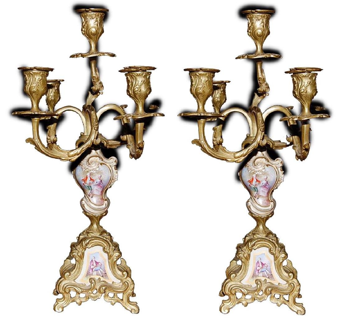 Antique pair of Sevres and Bronze Candelabras 5 candles
