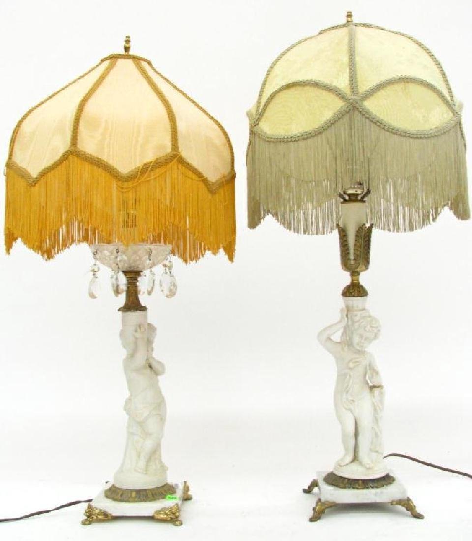 A Pair of Vintage Porcelain Figural Lamps