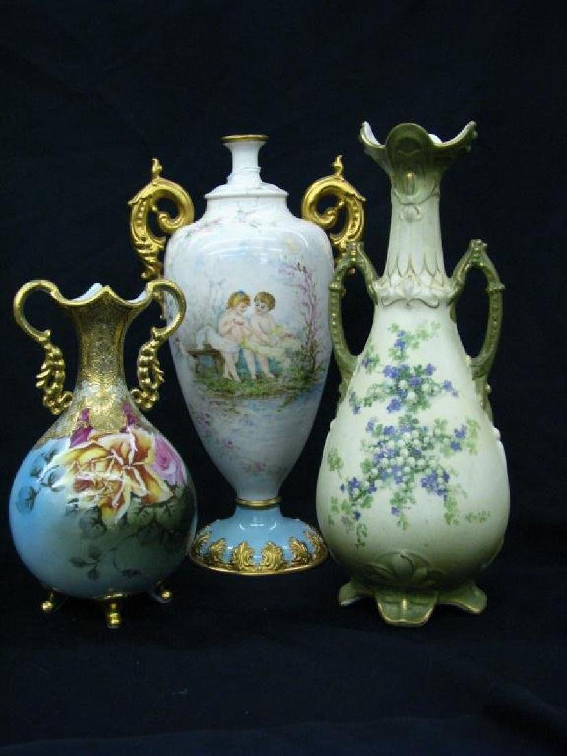 Three decorated Porcelain vases