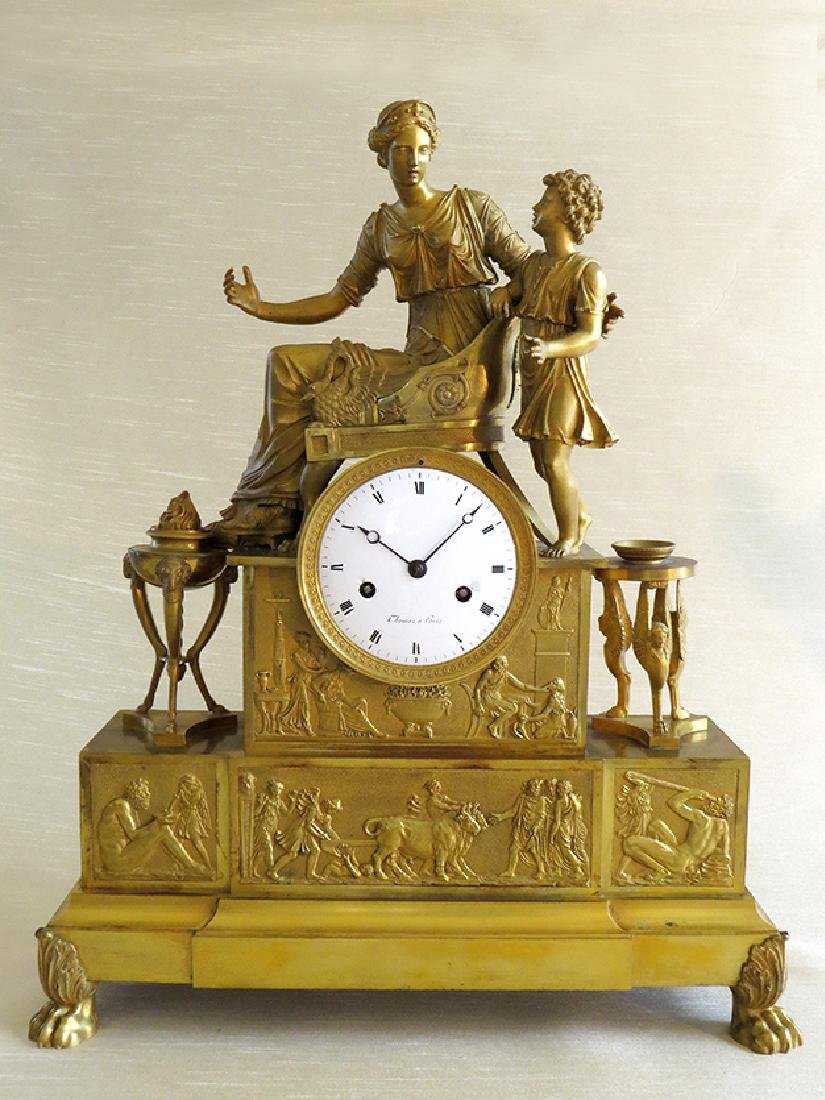 "Large 21""H Fine French Empire Gilt Bronze Ormolu Clock"