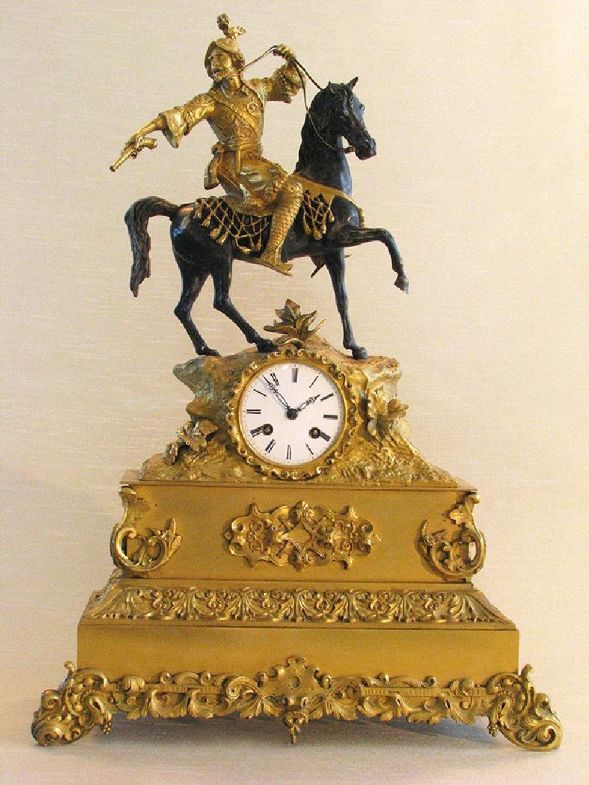 Magnificent French Bronze Clock with Patinated Horse