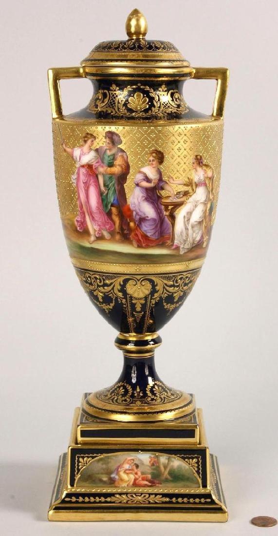 Signed Royal Vienna Porcelain Covered Urn/Vase
