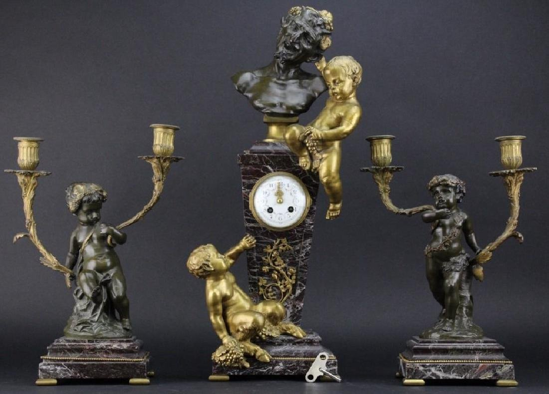 3 piece Clodion Figural Bronze Clock & Garniture Set