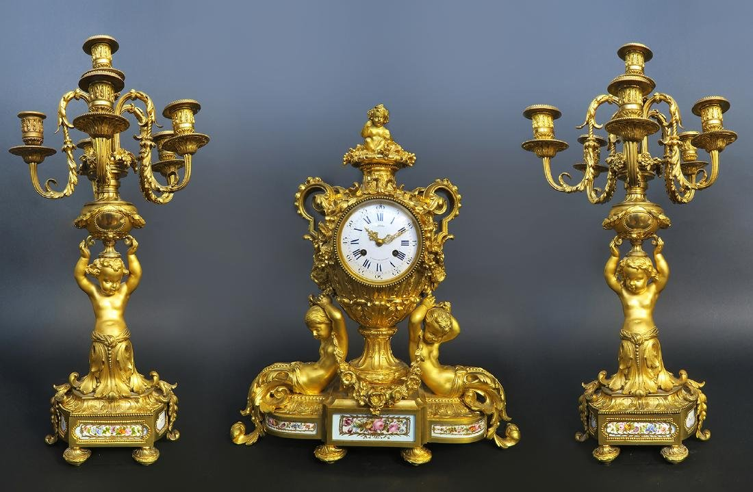 Fine French Sevres & Figural Bronze Clock Set