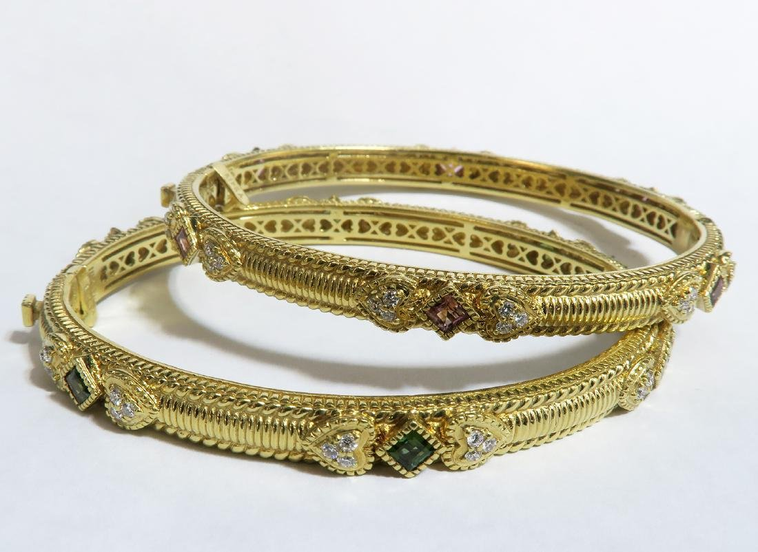 Pair of 18K Yellow Gold/Diamond/Stones Bangles