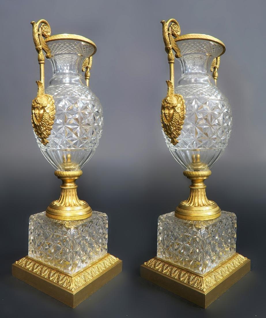 19th C. Pair of Austrian Gilt Bronze & Crystal Vases