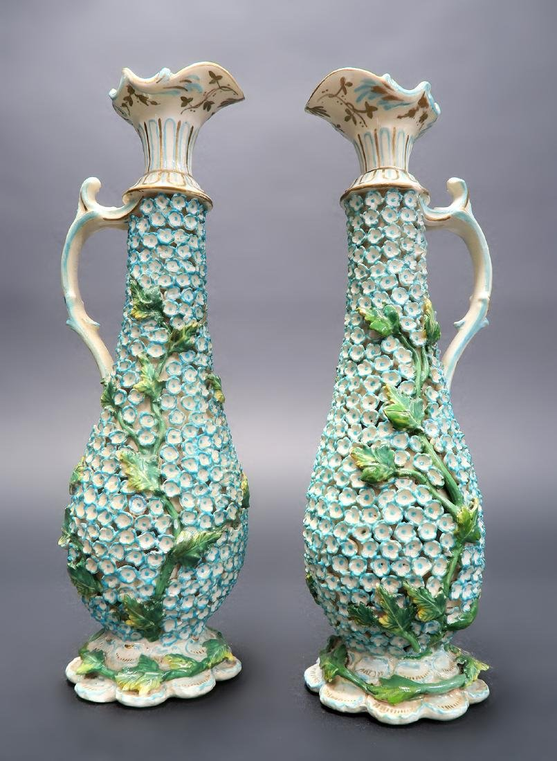19th C. Pair of Meissen Style Snowball Pitchers