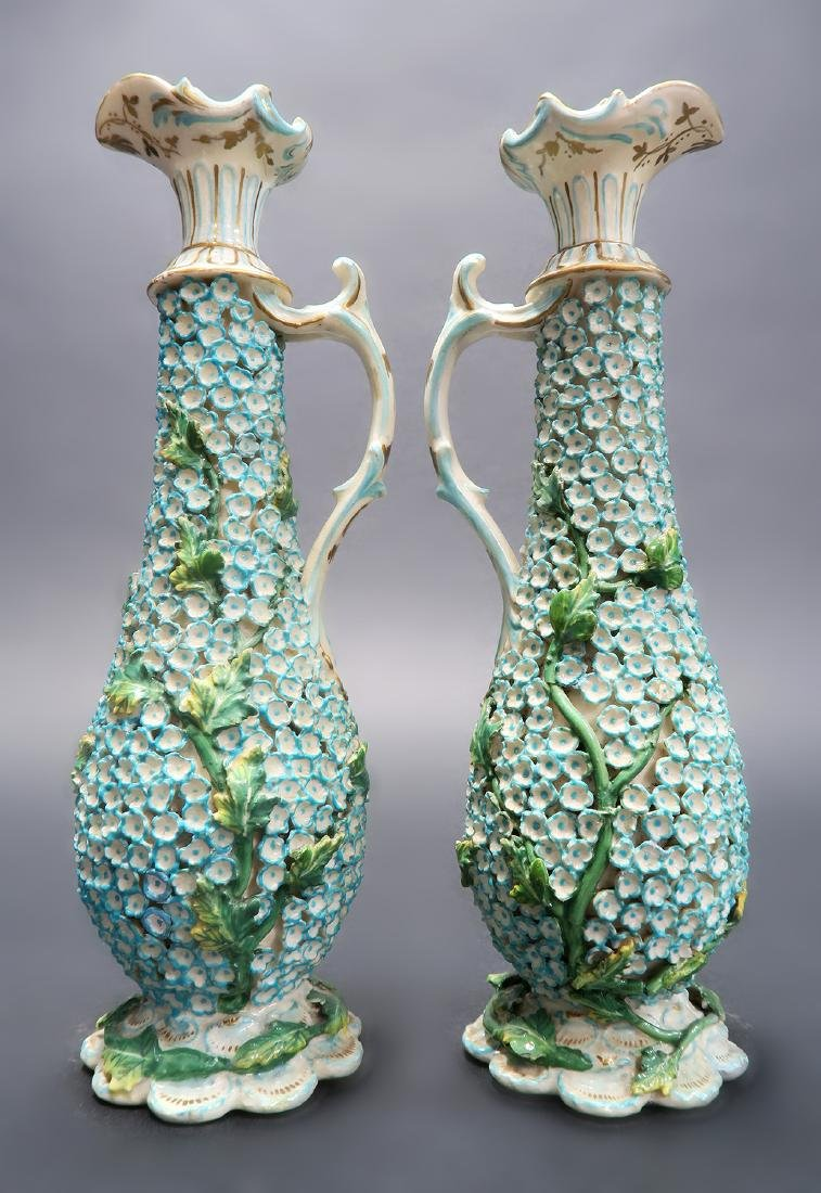 19th C. Pair of Meissen Style Snowball Pitchers - 2