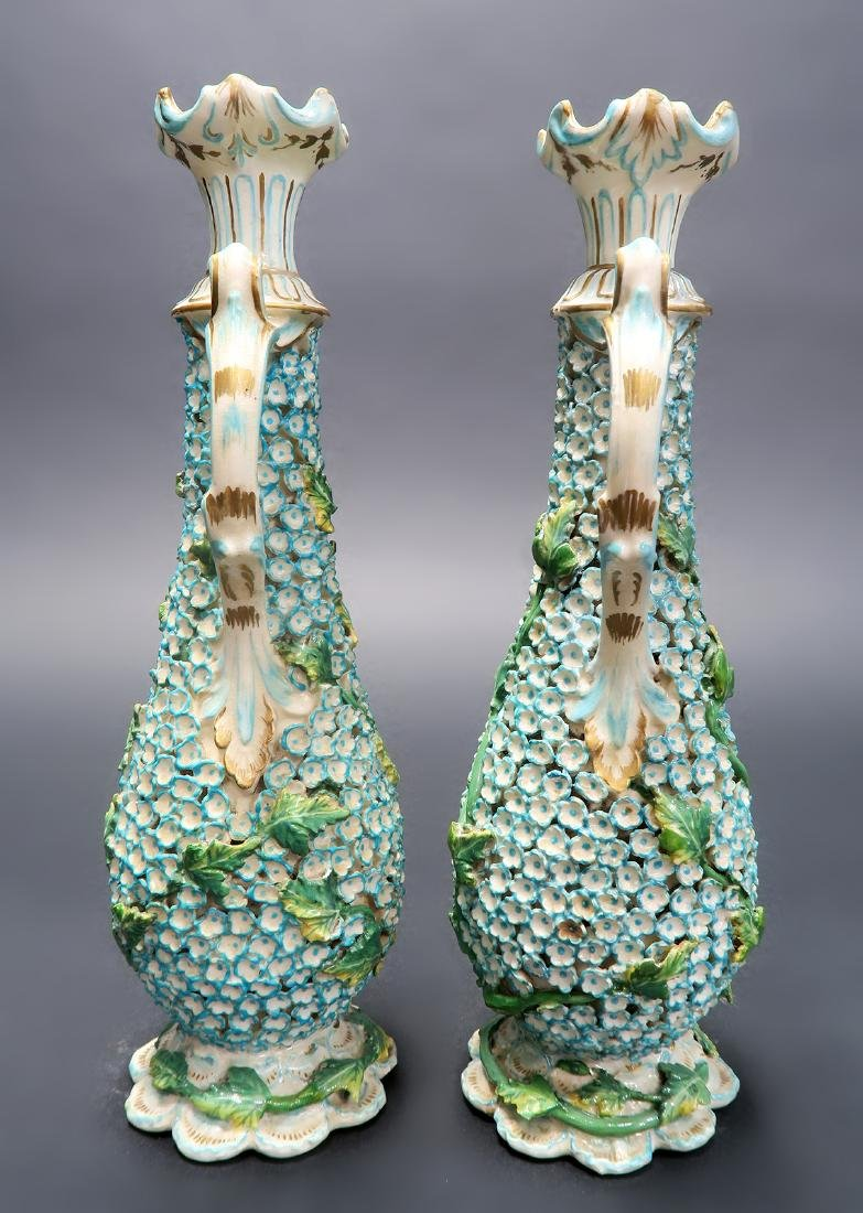 19th C. Pair of Meissen Style Snowball Pitchers - 3