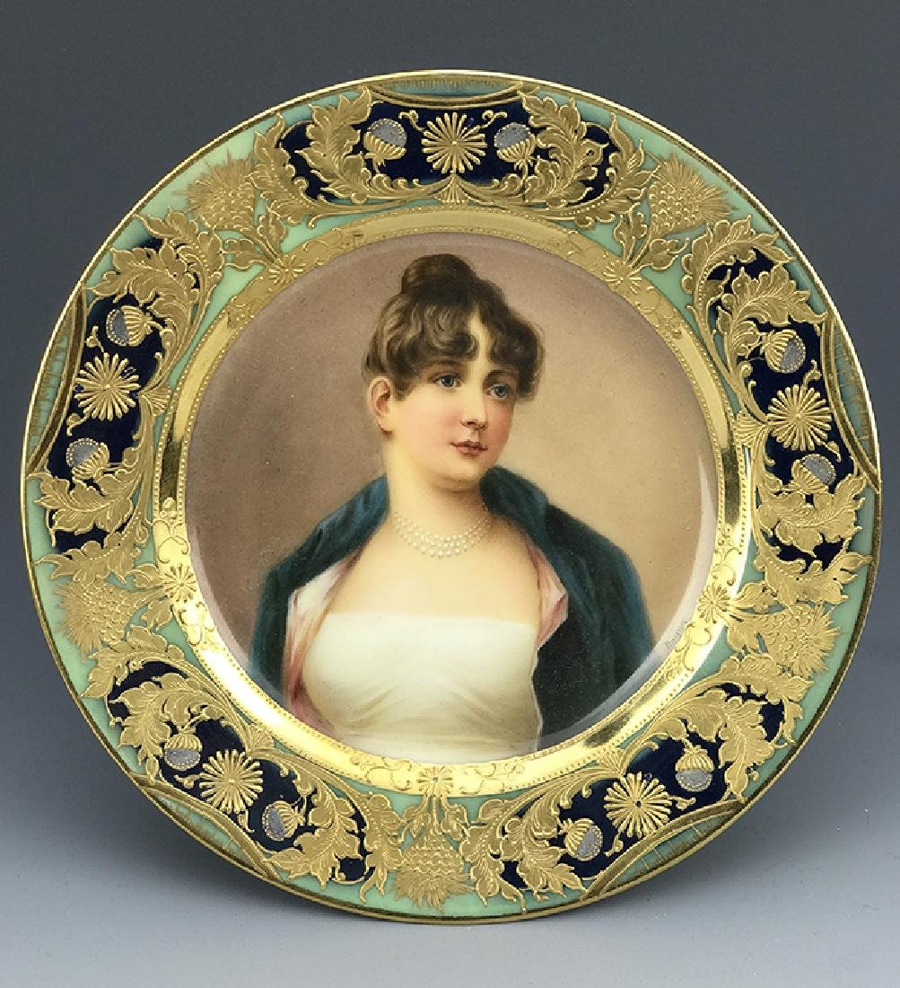 19th C. Royal Vienna Hand painted Portrait Plate