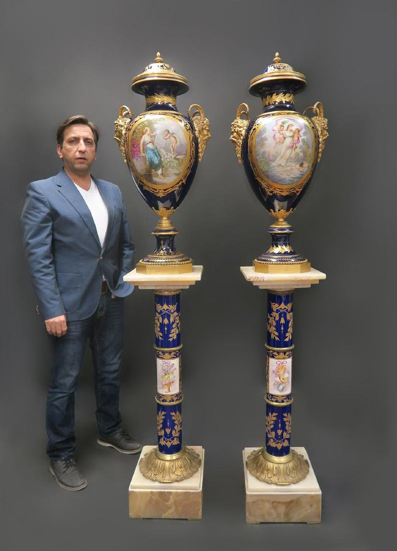Large Pair of French Sevres Bronze Mounted Vases