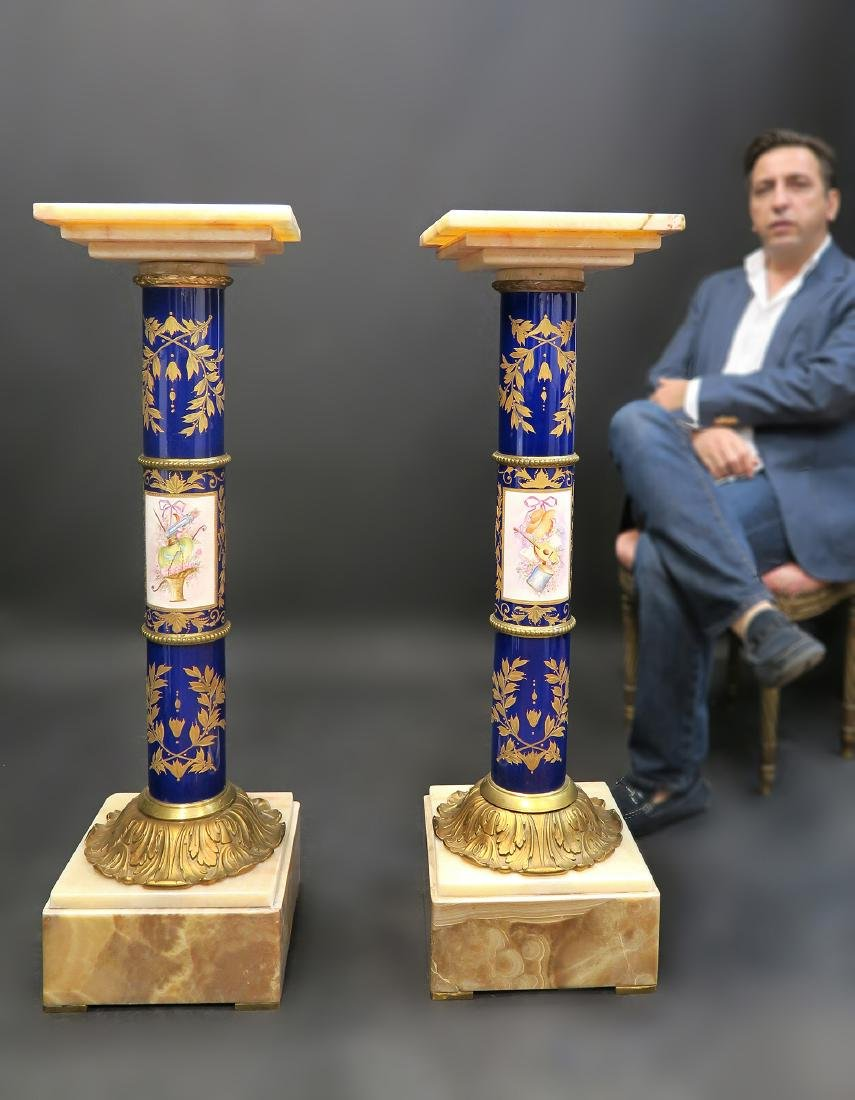 Pair of French Bronze Onyx & Sevres Pedestals