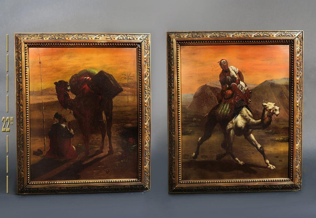 Pair Of 19th C. Orientalist Oil On Copper Paintings