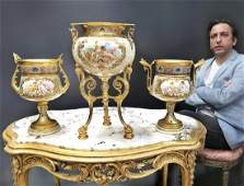 19th C. French Champleve Garniture Set
