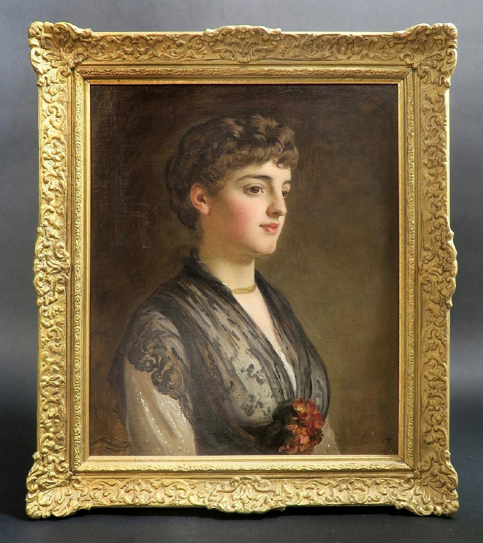 Fine 19th C French Oil on Canvas Portrait
