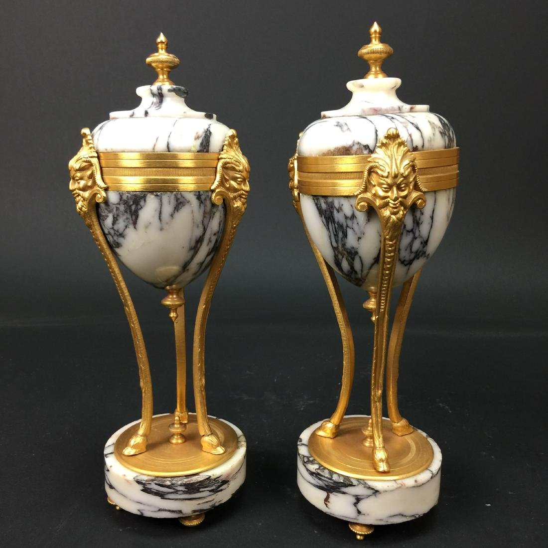 19th CENTURY A PAIR OF GILT BRONZE MARBLE VASES