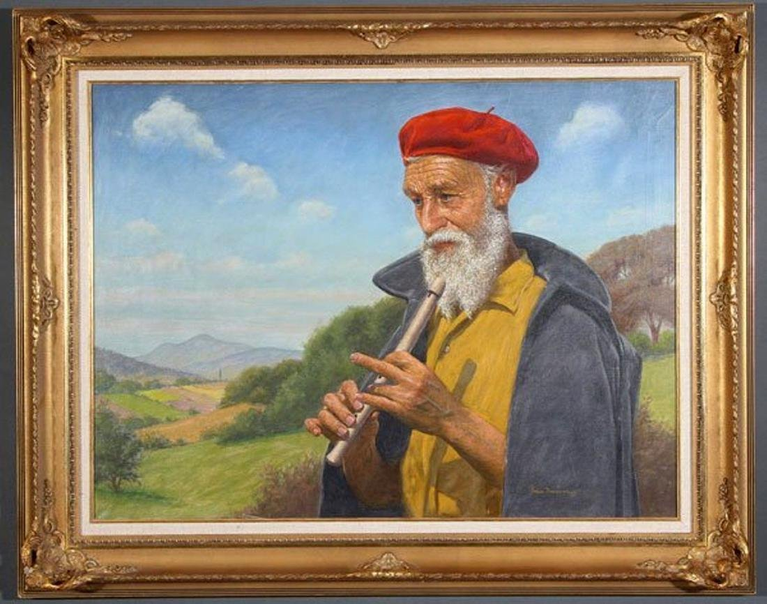 "Greek PAP DOMOKOS Signed Oil on Canvas ""Flute Player"""