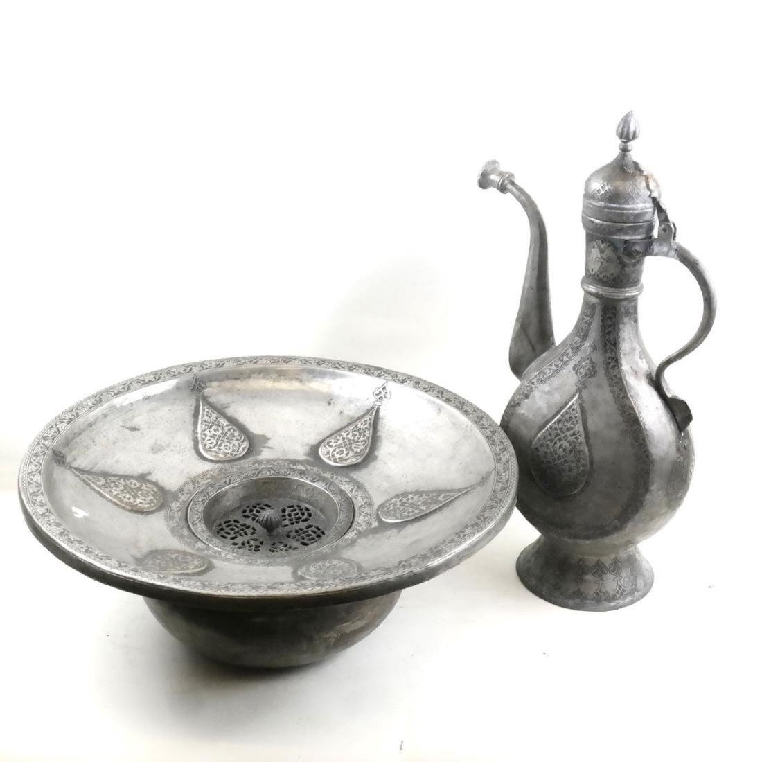Antique Islamic Incised Ewer And Bowl