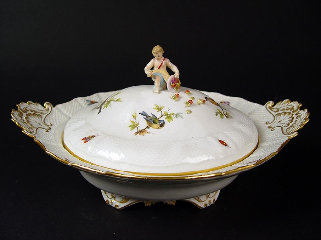 "19th C. German ""Meissen"" Hand Painted Porcelain Tureen"