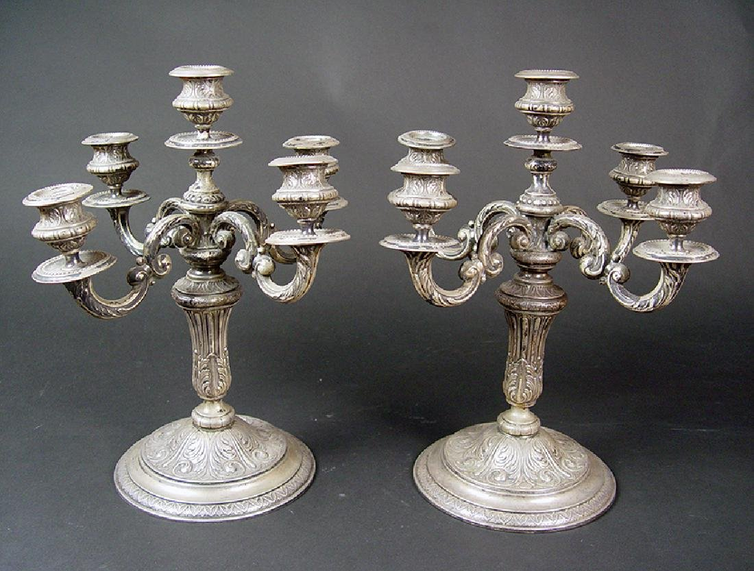 18th C. Russian Sterling Silver Pair of Candelabras