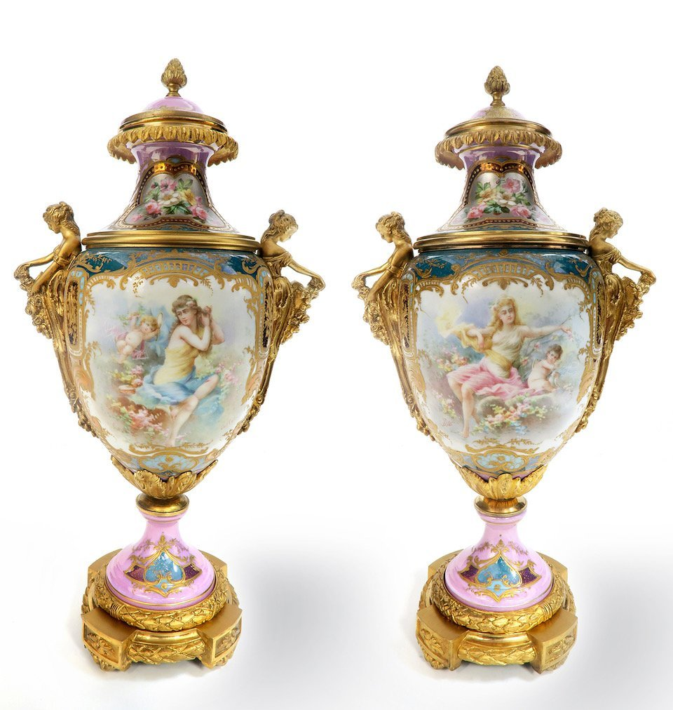 Pair of French Figural Bronze & Sevres Vases