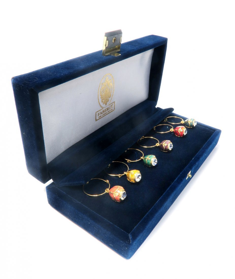 Faberge Egg Pendant Wine Charms