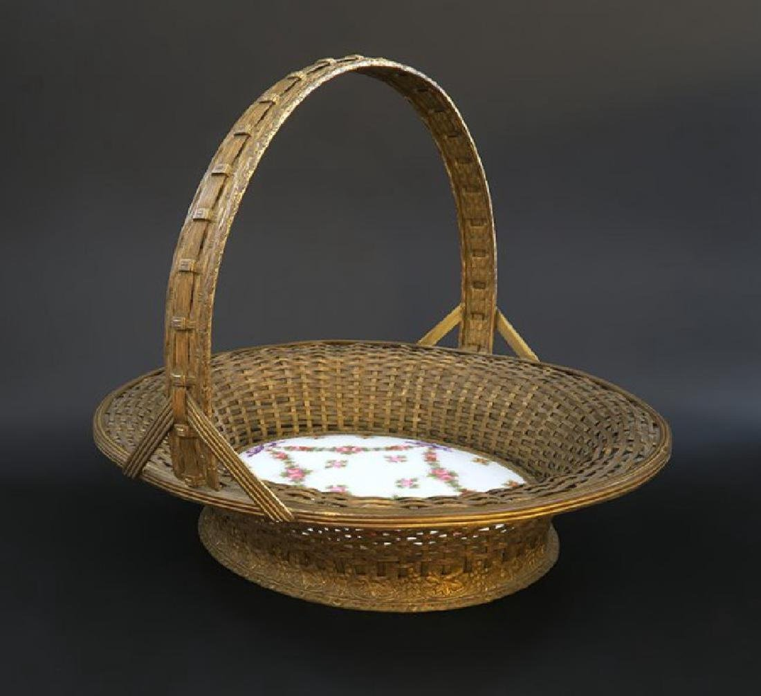French Bronze Wire Work Basket Mounted Porcelain