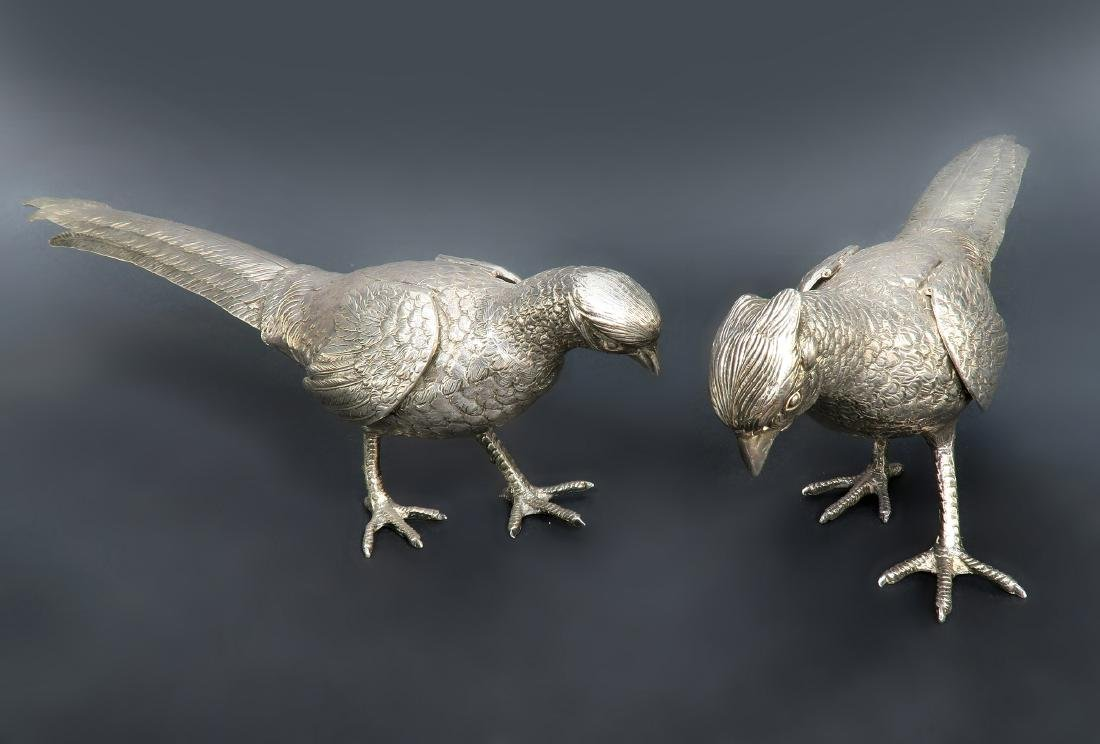 "16"" Pair of Large Sterling Silver Birds"